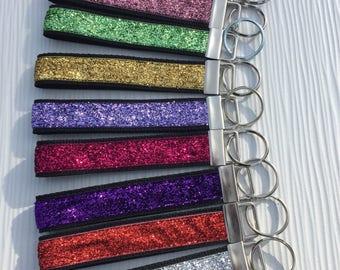 Keychain Wristlet Gift for Her - Glitter Keychain Bracelet - Wristlet Keychain Womens Gift - Choice of Colors - Key Fob Wristlet