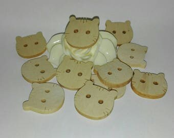 set of 10 CAT buttons wood 2 cm