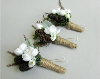 """White Cherry Blossom and Pine Cone Boutonnieres, Groom or Groomsmen, Rustic Spring or Winter Wedding, """"Frost"""""""