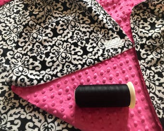 Black Damask Double Minky Baby Blanket, SALE!