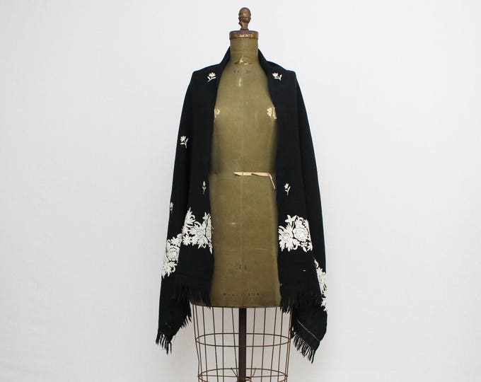 Vintage 1930s Black Floral Embroidered Wool Shawl