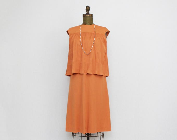 Vintage 1970s Orange Pleated Dress - Size Small