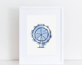 The London Eye Art Print // London illustration, art prints, home decor, London landmark, watercolor painting, nursery decor, ferris wheel