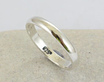 Sterling Silver Ring - Classic Silver Ring- Classic Band - Silver Shinny - Wedding Band - Thin Ring - Promise Ring - Engagement Band