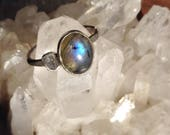 Labradorite and Recycled Sterling Silver Ring