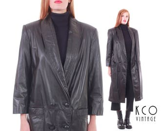 Vtg Long Black Leather Coat Minimalist Goth Black Winter Duster 80s 90s Vintage Clothing Women's Size MEDIUM / LARGE