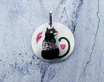 Cat pendant, black cat jewellery necklace, ideal gift for cat lover, cat gifts. Friendship gifts, Valentines gift for women. P373