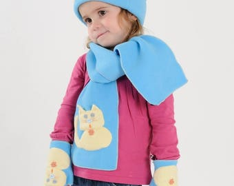 Turquoise and yellow winter scarf MISS NONO