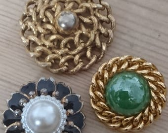 Three vintage brooches