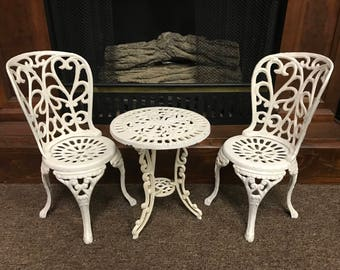 Antique Wrought Iron Table and 2 Chair Set, Victorian Miniture Iron Garden Furniture, Outdoor Doll Furniture, Victorian Doll Furniture