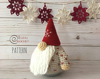 CROCHET PATTERN - HERBERT the Scandinavian Gnome Amigurumi doll / Stuffed Doll / Easy Instructions / Handmade Plushie / Christmas - pdf only