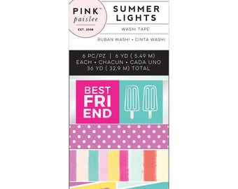 Pink Paislee - Summer Lights Mini Washi Tape - Holographic Foil - Set of 6 - Planner Washi Tape, Stickers