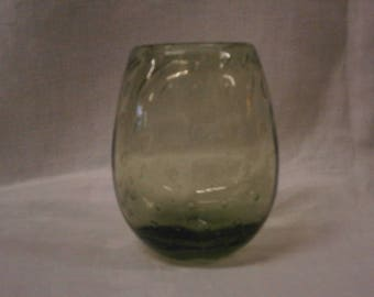Whitefriars Controlled Bubble Vase in Ocean Green - Vintage - Retro