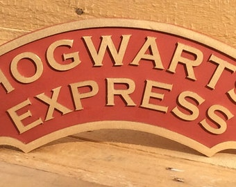 Harry Potter Hogwarts Express train sign - laser cut wooden plaque beautifully painted