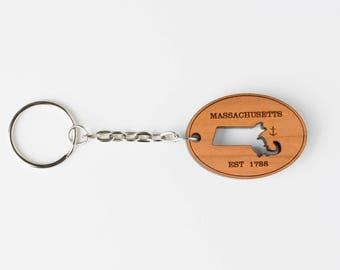Massachusetts Keychain, wood, laser engraved