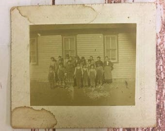 Antique Cabinet Card CVD Estate Photo of Frontier Rural Farm School 1900's #7