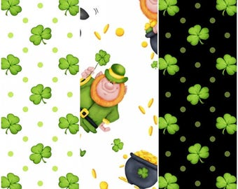 St. Patrick's Day Lucky Me Shamrocks, Leprechauns, & Gold Cotton Fabric by Henry Glass! 3 Options [Choose Your Cut Size]