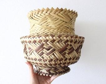 Vintage Basket Vase Woven Pot Boho Home Decor Jungalow Airplant Holdern Rattan Sea Grass