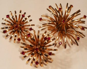 Firework Red Rhinestone Brooch & Earrings Demi Parure Set, Atomic Gold Tone Costume Jewelry