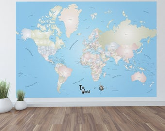 Giant mural map etsy giant world map mural stylish and educational world map wall art world map decal 72 sciox Gallery