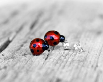 Ladybug earrings, Ladybird earrings, Lady bug, Animal jewelry, Bug lover, child earrings, silver earrings, spring jewelry, Ladybird earrings