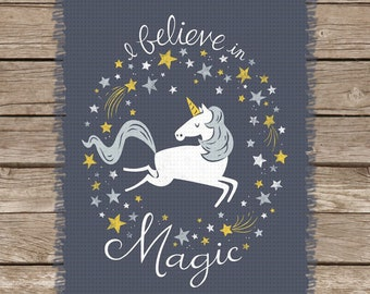 I Believe in Magic (Unicorns)   An Image Chart for Cross-Stitch, Graphgans, Latch Hook