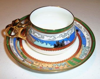 Russian Imperial Lomonosov Village By The lake Tea cup & Saucer Set