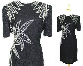 Vintage Sequin Dress Black White Floral Large