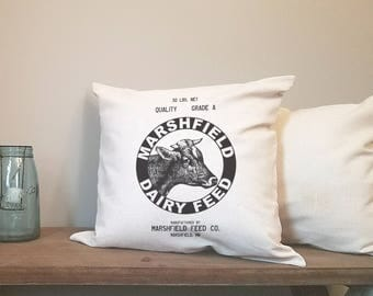 dairy feed farmhouse pillow cover. rustic decor. farmhouse decor. accent pillow.