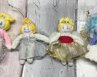 Knitted fairy, Christmas,hanging decoration, tooth fairy, pocket, woodland character