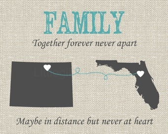 Gift for mom and dad, moving away gift, grandparents present, family together never apart, family map print, long distance family