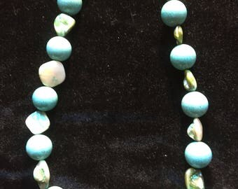 Matinee Length Turquoise and Paua Shell Necklace