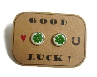 FOUR LEAF CLOVER earrings - St patrick leaf - Shamrock earrings - Saint patricks day - Green shamrock - Luck earrings