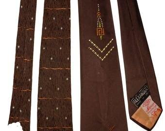 1940s Brown Tie Duo Vintage Retro