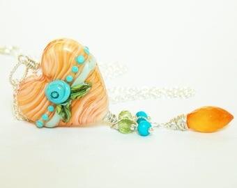 Orange Artisan OOAK Lampwork Heart Necklace. Vintage Lace Heart Necklace. Romantic Necklace. Luxe Glass Jewelry