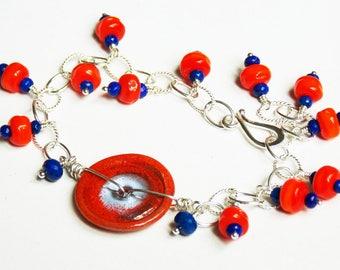 Sports Fan Bracelet // Edmonton Oilers Jewelry // University Pride Bracelet // Luxe Glass Jewelry // Luxe Gemstone Jewelry