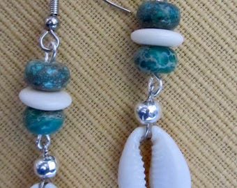 Cowrie shell and turquoise dangle earrings