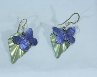 Vintage Women's Butteryfly and Leaf Earrings