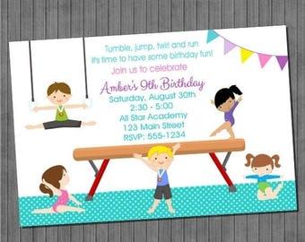 ON SALE Boys and Girls Gymnastics Birthday Party Invitations