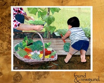 8x10 Art Print of a Parent and Child Picking Veggies in the Garden - Baby Shower - Nursery - Gardener Mother/Father Gift
