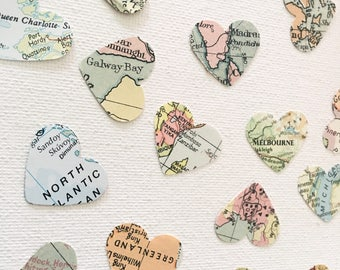 World Map Confetti Very Vintage / Wedding Table Confetti / Party Confetti / 200 pieces /
