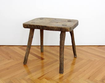 Vintage Stool // Primitive Wooden Step Foot Stool // Farmhouse Rustic Primitive Small Bench Plant Stand End Side Coffee Table
