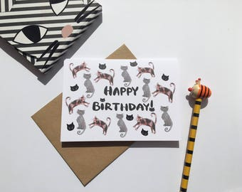 Cat Happy Birthday Card - Alternative Cute Cat Card for her - Crazy Cat Lady Birthday Card -cat drawing - love cats card