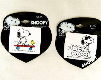 Vintage Pair of Snoopy Woodstock Hair Clips Joe Cool Skateboard Barrettes Made in France