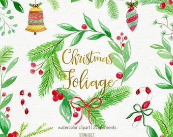 christmas clipart watercolor, christmas clip art, watercolor clip art, watercolor wreath, christmas ornaments, holiday decorarion, digital