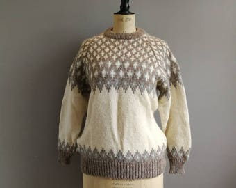 vintage thick wool sweater / Scottish fisherman jumper / cream brown aran knit / warm vintage jumper womens