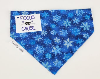 Vintage Blue with Snowflakes Bandana, Christmas Dog Bandana, Winter Pet Bandana, Holiday Bandana, Focus for a Cause