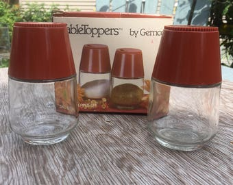 Vintage 1970's TableToppers by Gemco salt & pepper shakers terra cotta #4003