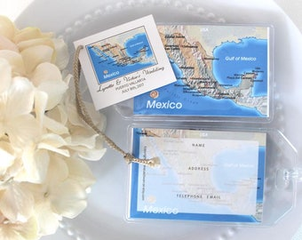 Mexico Puerto Vallarta Mexico Resorts Wedding Luggage tag favors personalized 1.75 each pre cut jute or satin ties