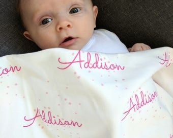 Personalized girl swaddle blanket: baby and toddler personalized name newborn hospital gift baby shower gift